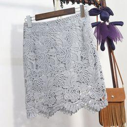 Wholesale Womens Plus Denim Skirt - Fashion Midi Skirts Womens Lace Black Skirts Basic Vintage Long High Waist white gray skirt ladies plus size Jupe Femme Faldas