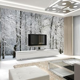 Wholesale Large Tree Wall Mural - Wholesale- Large wall murals papel de parede snow birch trees forest photo wallpaper mural for living room bedroom tv sofa background decor