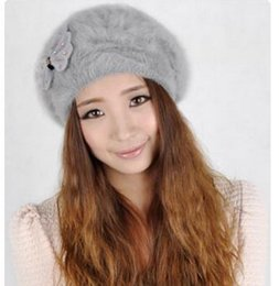 Wholesale Ear Protector Hats - free shipping Rabbit fur hat women's autumn and winter yarn beret hat winter ear protector cap