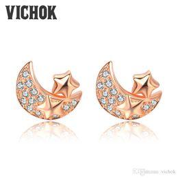 Wholesale White Gold Star Stud Earrings - Romantic Star&Moon Stud Earrings 925 Sterling Silver Charm Earrings Rose Gold Color For Women boucle d'oreille femme Gift For Lover VIC