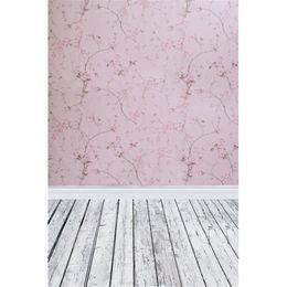Papel de parede rosa vintage on-line-Vintage Rosa Flores Damasco Fotografia Backdrops Papel De Parede De Vinil Impresso Bebê Adereços Recém-nascidos Crianças de Casamento Sessão de fotos de Fundo de Madeira Chão