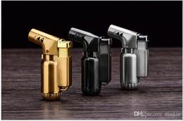 Metallfeuerzeug zigarre online-METALL Winddicht Butangas Feuerzeug Metall Zigarettenanzünder Mini Nachfüllbar Jet Flame Fackel Klieschen Jet Butangas Fackel DHL FREE