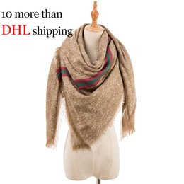 Wholesale ladies acrylic rings - Autumn and Winter New Air-conditioned Room Ladies Warm Collapsible Triangular Scarf Satin Plaid Scarf Thicken Scarves