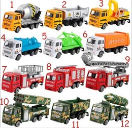 Wholesale Diecast Buses - 150pcs  Diecast Metal Alloy Car Model Inertia Toys Car Model Alloy Head+ABS BODY Military Engineering Firefighting City 12 Styles