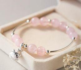 2019 grabado de pulsera 925 Venta al por mayor auténtica de 925 joyas de plata esterlina natural de cuarzo rosa