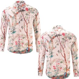 Wholesale Long Sleeve Flannel Shirts - Fashion Silk shirts Mens Slim Fit designer shirts Trees birds Floral 3D Print Italy Brand Long Sleeve chemise arc Hem Casual flannel Shirt