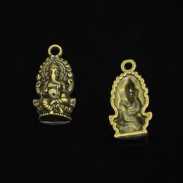 2019 pingentes de buda de bronze 55 pcs liga de zinco encantos de bronze antigo chapeado ganesha elefante buddha encantos para fazer jóias diy pingentes artesanais 26 * 14mm desconto pingentes de buda de bronze