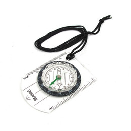 Wholesale black pound - Portable Mini Baseplate Compasses With Black Strapped Rope Map Scale Ruler Compass Clear Measure Tools Hot Sale 2 7dt B