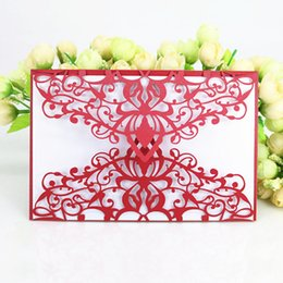 Wholesale Red Wedding Invites - Red country fence laser cut party dinner invitation card shimmer business invites gift post card wholesale
