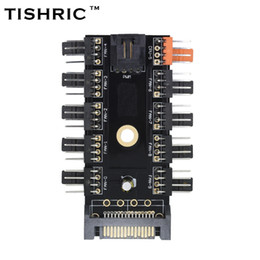 Wholesale Computer Power Supply Fans - TISHRIC Newest Black 1 to 10 PC Cooler Cooling Fan Hub Splitter Cable Pwm SATA 12V Power Supply Speed Adapter Computer Mining