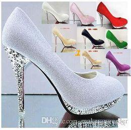 Wholesale shoes high platform sequin - wholesale sexy crystal wedding sexy high heel plating heel round nose platform dress red bridesmaid dress shoe