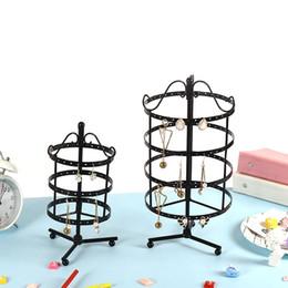 Exibição de brinco de jóias redondas on-line-Jóias Display Hanger 128 Furos 30 cm de Altura Giratória Brinco Stand Titular Retro Bronze Rodada Placa De Metal Perfurado Venda Quente 21md Z
