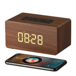 mini metal mp3 player Promo Codes - W5C Wood Bluetooth Speaker Clock Digital Display 6W 1500mAh Battery Strong Bass MP3 Music Player AUX Audio TF Card USB Play Wooden Speakers