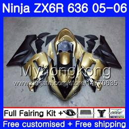 2019 kawasaki 636 Karosserie + Gold Tank Für KAWASAKI NINJA ZX-636 ZX 6R 600CC 6 R ZX636 05 06 210HM.2 ZX6R 05 06 Champagner-Schaum ZX600 ZX 636 ZX-6R 2005 2006 günstig kawasaki 636