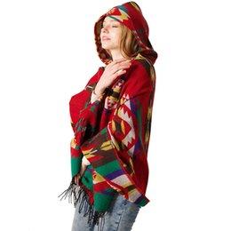 Canada ALABIFU boho Ethnique Châle Femmes 2018 Automne Hiver Floral Chaud Sweat À Capuche Manteau Cornes Bouton Cape Cachemire Châles Foulards supplier ethnic floral scarves Offre