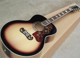 """Sillín de guitarra online-Fábrica al por mayor 43 """"playwood Retro color SJ guitarra acústica con diapasón de palisandro, hueso de silla de montar / tuerca, puede agregar pastillas fishnman"""