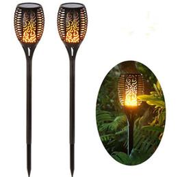 Decoraciones de la antorcha online-Lámpara de llama LED con energía solar a prueba de agua 96 LEDs bailando antorcha parpadeante luz de jardín al aire libre LED luces de jardín decoración OOA5193