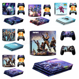 Wholesale colors stickers - 5 colors Game Fortnite Battle Royal PS4 Slim Skin Sticker For PlayStation Console and Controllers Sticker Decal Vinyl Kids Toys Gift MMA191