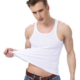 Wholesale Fashion Underwear Men - Men Fashion Tanks Cotton Summer U Neck Underwear Tops Solid Color Soft Breathable Casual Elasticity Male Sleeveless Vests
