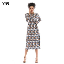 25267016d3 casual drop waist dress Promo Codes - 2018 Suit-dress mini club Dress Leaf  Printing