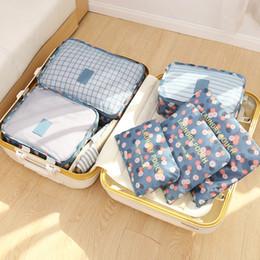 6pcs / set Borse di stoccaggio dell'organizzatore di viaggio Organizzatore di bagagli portatile Vestiti Tidy Pouch Suitcase Packing Laundry Bag Storage Case da