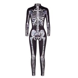 2019 skelett knochen druck Erwachsene Frauen Halloween Scary X-Ray Fever Skelett Knochen Gedruckt Kostüm Bodysuit Overall Schwarz Grau Catsuit Outfit Für Damen günstig skelett knochen druck