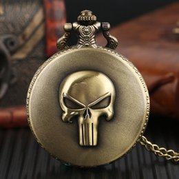 Wholesale Acrylic Head - Special Gifts for Men Women Children Kids Pal Necklaces Evil Skull Head Quartz Pocket Watch Cool Pendant with Chain