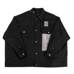 Wholesale regular show jacket - RAF SIMMONS 18ss DENIM JACKET shirt PVC TAPE ASAP ROCKY STYLE LOng Sleeve JACKET Catwalk Show Product