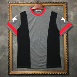 etiquetas de moda Rebajas 2017 Más Nueva Marca de Moda de lujo etiqueta de la marca de manga corta estrella de los hombres remiendo gris rojo blanco de cinco estrellas camiseta de Verano de las mujeres Diseñador de la camiseta de algodón