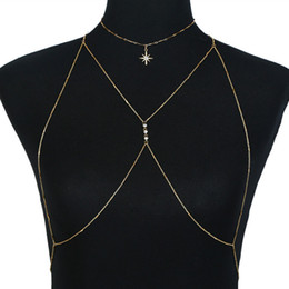 new sexy body dresses Coupons - 2018 New Fashion Accessories Sexy Simple Crystal Star Chain Necklaces Women Body Jewelry Beach Dress Necklace Party Dropshipping