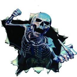 Adesivo a campana online-Car Sticker Funny Car 3D Skull Trunk Campane Thriller Rear Window Sticker Decal impermeabile Skeleton Car Styling