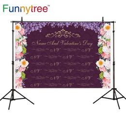 Spray corona online-al por mayor Fondo de fotófono púrpura aceite paintiong Día de San Valentín flores de repetición amor corona violeta personalizado photocall telón de fondo