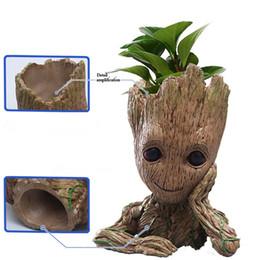 forniture bonsai all'ingrosso Sconti Moda Guardiani della Galassia Flowerpot Baby Groot Action Figures Cute Model Toy Pen Pot Migliori regali di Natale per i bambini