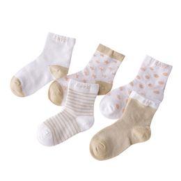 Wholesale Girls Cartoon Socks - 5 Pairs Socks Set Baby Boy Girl Cotton Cartoon Candy Colors Dot, breathable, stylish Socks Infant Toddler Kids Soft Sock