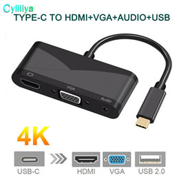 Wholesale macbook audio cable - USB C Type C to HDMI VGA 3.5mm Audio Adapter 3 in 1 USB 3.1 USB-C Converter Cable for Laptop Macbook Google