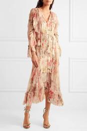 Vestidos midi de seda online-Vestido de gasa de seda floral estampado Mercer de mujer Vestido largo de volantes de manga larga con volantes y cintas de zapatos Tasseled