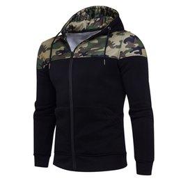 Wholesale Camouflage Outwear - 2018 Mens Winter Hooded Sweatshirt Coat Camouflage Zipper Hoodie Jacket Outwear Hip Hop Hoodies Men M-2XL