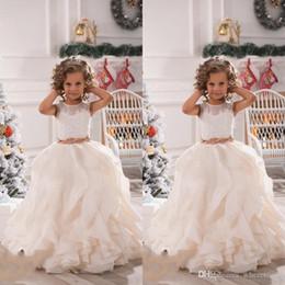 Canada Robes de filles de fleurs pour les mariages illusion cou dentelle dentelle blanc ivoire écharpes volants parti princesse enfants fête des robes de fête d'anniversaire Offre