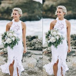 Wholesale custom made dresses for cheap - Beach Wedding Dresses 2017 White Lace Summer Sleeveless Bridal Gowns Slit Mermaid Seaside Simple Cheap Dress For Brides Custom Made