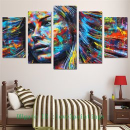 Wholesale Modern Face Oil Painting Canvas - Colorful Hair Figure Woman Face -1,5 Pieces Home Decor HD Printed Modern Art Painting on Canvas (Unframed Framed)