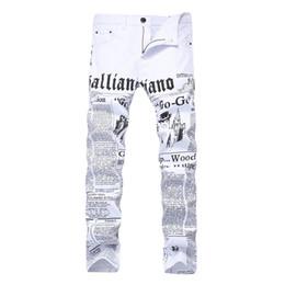 2019 jornal de algodão Homens Jeans Robin calças estilo Inglês jornal impresso Cotton alta Elastic Demin Casual Pants Para Vendas jornal de algodão barato