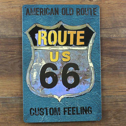 Wholesale Old Bar Signs - American Old Route 66 Custom Feeling Vintage Home Decor 20*30 cm Shabby Chic Metal Sign For Bar Pub Cafe