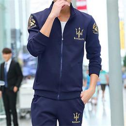 Wholesale Long Black Wool Cardigan - Brand Designer Luxury Men Tracksuits Sweat Suits Autumn Spring Jogger Sets Jacket + Pants Sportswear 2018 Best Quality Plus Size