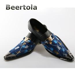 2019 chaussures formelles hommes bleus Beertola Royal Bleu Chaussures Habillées En Cuir Véritable Métal Toe Slip On Business Hommes Chaussures Hommes Formal Grand Taille 39-46 chaussures formelles hommes bleus pas cher