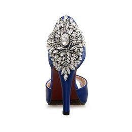 Wholesale high heeled bridal shoes - Bridal Crystal Shoes 2018 Fashion Luxury Designer Women Shoes Women High Heel Sandals Buckle Strap Open Toe