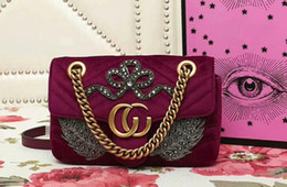 Wholesale Embroidered Leather Shoulders Bags - AAAAA Women 446744 22cm Marmont Embroidered Velvet Mini Bag,Bow appliqué,Feather appliqué,Sliding Chain Strap,with Box Dust Bag