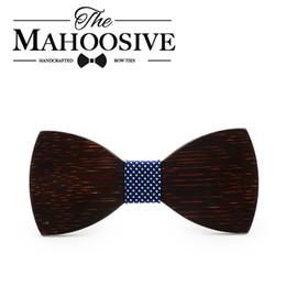 Wholesale Wholesale Bow Ties Cheap - Mahoosive Black wood Novelty Wedding Party Polyester Bowtie Papillon Men Women Bow Tie Solid Color Bolo Neckwear Cheap Cravat