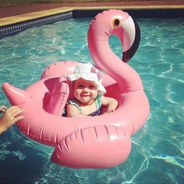 Wholesale Baby Buoy - INS hot baby inflatable cute pink flamingo children swim ring children life buoy swan baby seat