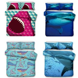Wholesale king size animal print quilts - Seabed Jellyfish and Sharks Pattern Bedding Set Twin Full Queen King Size Pillow Case Quilt Cover Duvet Cover No Filler