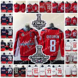 2018 Stanley Cup Final Champions Caps  8 Alexander Ovechkin 77 TJ Oshie 92  Evgeny Kuznetsov 43 Tom Wilson Holtby Washington Capitals Jerseys 1a680bbfa